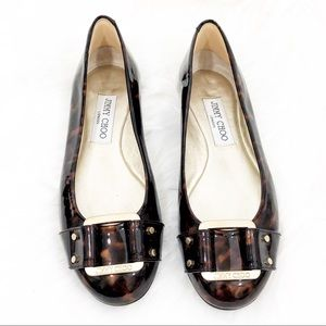 Brown Jimmy Choo Patent Leather Flat Size 36.5